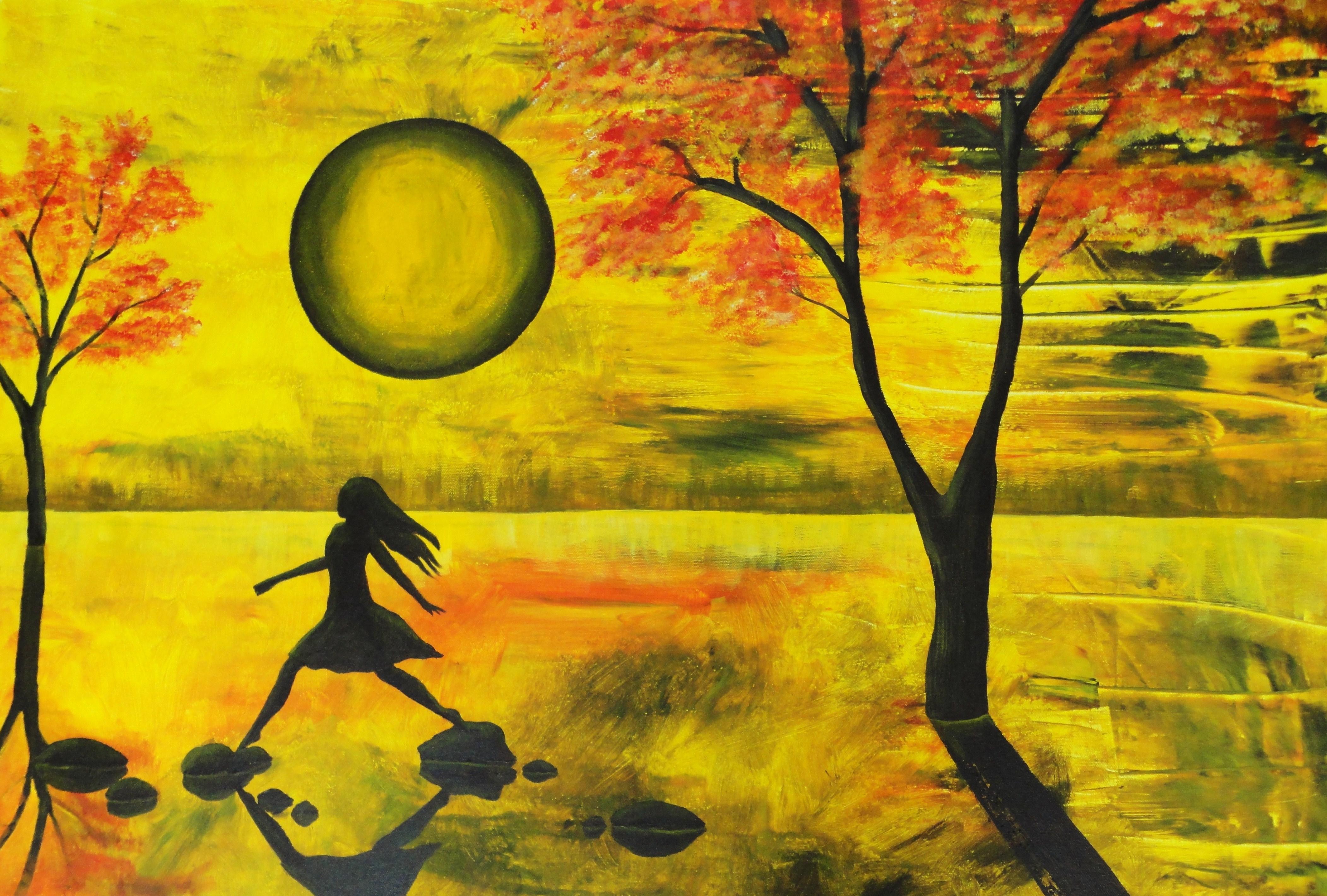 Acrylic Painting   Handprint Soul for Landscape Acrylic Painting Ideas